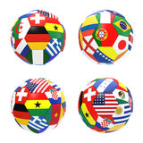 3D render of football with flags. 3D render of 4 soccer football representing competition group G on 2014 FIFA world cup on on white background Royalty Free Stock Photos