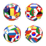 3D render of football with flags. 3D render of 4 soccer football representing competition group H on 2014 FIFA world cup on on white background Royalty Free Stock Photography
