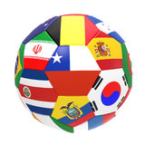 3D render of football with flags. 3D render of soccer football on white background Royalty Free Stock Photos