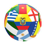 3D render of football with flags. 3D render of soccer football on white background Stock Photography
