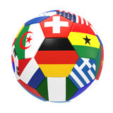 3D render of football with flags. 3D render of soccer football on white background Stock Images