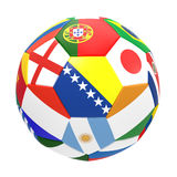 3D render of football with flags. 3D render of soccer football on white background Stock Photos