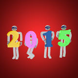3d render of four robots greeting the new year on red. 3d render of four robots greeting the new year by holding 2015 sign on red background Royalty Free Stock Images