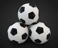 3d render of four soccer balls faced pyramid Royalty Free Stock Image