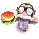 3d Funny cartoon airline pilot character holding a cheese burger fast food snack. 3d render of a funny cartoon airline pilot character holding a cheese burger Stock Photos