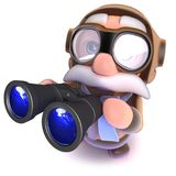 3d Funny cartoon airline pilot character holding a pair of binoculars. 3d render of a funny cartoon airline pilot character holding a pair of binoculars Royalty Free Stock Image