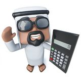 3d Funny cartoon Arab sheik character holding a calculator. 3d render of a funny cartoon Arab sheik character holding a calculator Royalty Free Stock Photo
