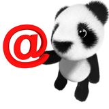 3d Funny cartoon baby panda bear character holding an email address symbol. 3d render of a funny cartoon baby panda bear character holding an email address Stock Photo