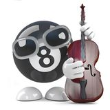 3d Funny cartoon 8 ball character playing a double bass. 3d render of a funny cartoon 8 ball character playing a double bass Royalty Free Stock Photos