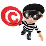 3d Funny cartoon burglar thief character holding a copyright symbol. 3d render of a funny cartoon burglar thief character holding a copyright symbol Stock Photography