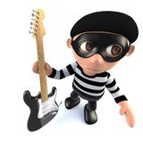 3d Funny cartoon burglar thief character holding an electric guitar. 3d render of a funny cartoon burglar thief character holding an electric guitar Royalty Free Stock Photography