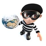 3d Funny cartoon burglar thief character holding a globe of the earth. 3d render of a funny cartoon burglar thief character holding a globe of the earth Royalty Free Stock Images