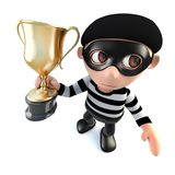3d Funny cartoon burglar thief character holding a gold cup trophy. 3d render of a funny cartoon burglar thief character holding a gold cup trophy Stock Photo
