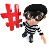 3d Funny cartoon burglar thief character holding a hashtag internet symbol. 3d render of a funny cartoon burglar thief character holding a hashtag internet Stock Photo