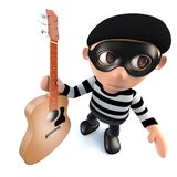 3d Funny cartoon burglar thief character stealing an acoustic guitar. 3d render of a funny cartoon burglar thief character stealing an acoustic guitar Royalty Free Stock Image