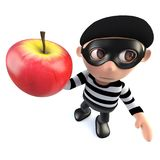 3d Funny cartoon burglar thief holding an apple. 3d render of a funny cartoon burglar thief holding an apple Stock Photography