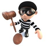 3d Funny cartoon burglar thief holding a judges gavel. 3d render of a funny cartoon burglar thief holding a judges gavel Stock Photo