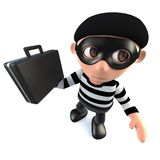 3d Funny cartoon burglar thief stealing a briefcase. 3d render of a funny cartoon burglar thief stealing a briefcase Stock Photos