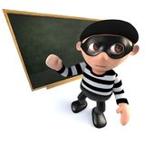 3d Funny cartoon burglar thief teaching at the blackboard. 3d render of a funny cartoon burglar thief teaching at the blackboard Royalty Free Stock Images