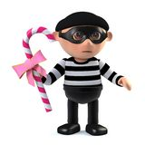 3d Funny cartoon burglar thief steals candy. 3d render of a funny cartoon burglard thief stealing candy Stock Images