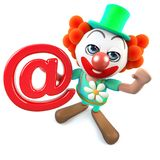 3d Funny cartoon crazy clown character holding an email address symbol. 3d render of a funny cartoon crazy clown character holding an email address symbol royalty free illustration