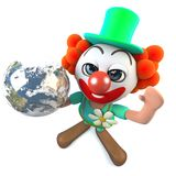 3d Funny cartoon crazy clown character holding a globe of the Earth royalty free illustration
