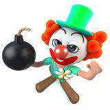 3d Funny cartoon crazy clown character holding a joke bomb. 3d render of a funny cartoon crazy clown character holding a joke bomb Royalty Free Stock Image