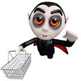 3d Funny cartoon dracula vampire character holding a shopping basket. 3d render of a funny cartoon dracula vampire character holding a shopping basket Royalty Free Stock Photography