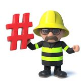 3d Funny cartoon fire fighter character holding a hash tag symbol. 3d render of a funny cartoon fire fighter character holding a hash tag symbol Stock Photo