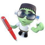 3d Funny cartoon frankenstein monster character writing with a pen. 3d render of a funny cartoon frankenstein monster character writing with a pen Stock Image