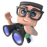 3d Funny cartoon geek nerd hacker character looking through binoculars. 3d render of a funny cartoon geek nerd hacker character looking through binoculars Royalty Free Stock Image