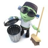 3d Funny cartoon Halloween frankenstein monster cleaning up with a broom Royalty Free Stock Photos