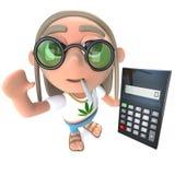 3d Funny cartoon hippy stoner character holding a calculator. 3d render of a funny cartoon hippy stoner character holding a calculator royalty free illustration