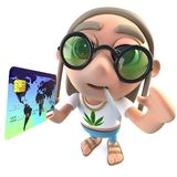 3d Funny cartoon hippy stoner character holding a credit debit card. 3d render of a funny cartoon hippy stoner character holding a credit debit card vector illustration