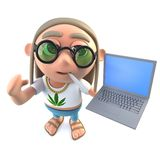 3d Funny cartoon hippy stoner character holding a laptop computer. 3d render of a funny cartoon hippy stoner character holding a laptop computer royalty free illustration