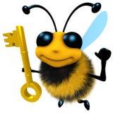 3d Funny cartoon honey bee character holding a gold key royalty free illustration