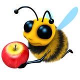 3d Funny cartoon honey bee character holding a juicy apple vector illustration