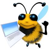 3d Funny cartoon honey bee character holding a laptop pc device. 3d render of a funny cartoon honey bee character holding a laptop pc device Royalty Free Stock Image