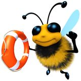 3d Funny cartoon honey bee character holding a lifering. 3d render of a funny cartoon honey bee character holding a lifering flotation device Stock Photos