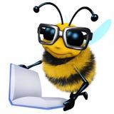 3d Funny cartoon honey bee character is reading a book. 3d render of a funny cartoon honey bee character is reading a book Royalty Free Stock Photo