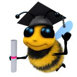 3d Funny cartoon honey bee character wearing a mortar board and holding a diploma. 3d render of a funny cartoon honey bee character wearing a mortar board and Stock Photography