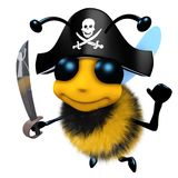 3d Funny cartoon honey bee character wearing a pirates costume for fun. 3d render of a funny cartoon honey bee character wearing a pirates costume for fun Royalty Free Stock Photo