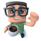 3d Funny cartoon nerd geek character drinking coffee from a mug. 3d render of a funny cartoon nerd geek character drinking coffee from a mug Royalty Free Stock Photo