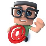 3d Funny cartoon nerd geek character holding an email address symbol. 3d render of a funny cartoon nerd geek character holding an email address symbol Royalty Free Stock Image