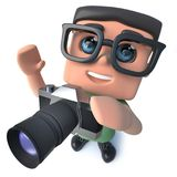 3d Funny cartoon nerd geek character taking a photo with a camera. 3d render of a funny cartoon nerd geek character taking a photo with a camera Royalty Free Stock Photos