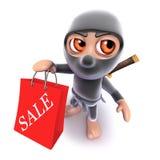 3d Funny cartoon ninja assassin warrior character going shopping Royalty Free Stock Photos