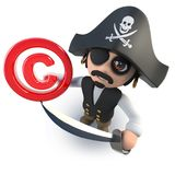 3d Funny cartoon pirate captain holding a copyright symbol. 3d render of a funny cartoon pirate captain holding a copyright symbol Royalty Free Stock Photo