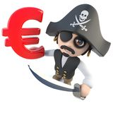 3d Funny cartoon pirate captain holding a Euro currency symbol. 3d render of a funny cartoon pirate captain holding a Euro currency symbol Stock Images