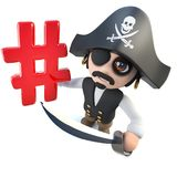 3d Funny cartoon pirate captain holding a hashtag symbol. 3d render of a funny cartoon pirate captain holding a hashtag symbol Stock Photography