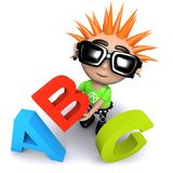 3d Funny cartoon punk youth holding letters of the alphabet. 3d render of a funny cartoon punk youth holding letters of the alphabet Stock Photography